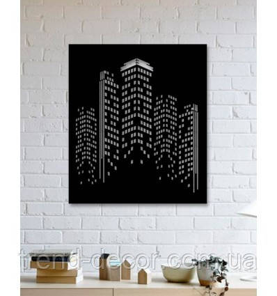 Декоративное металлическое панно с дизайном небоскреба .
