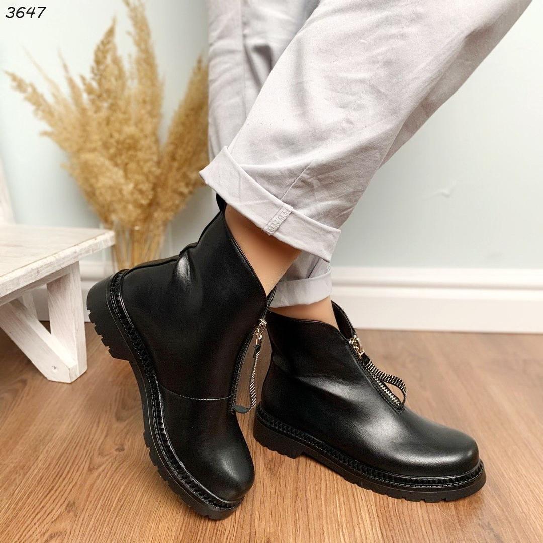 Ботинки женские демисезонные черные эко-кожа :)