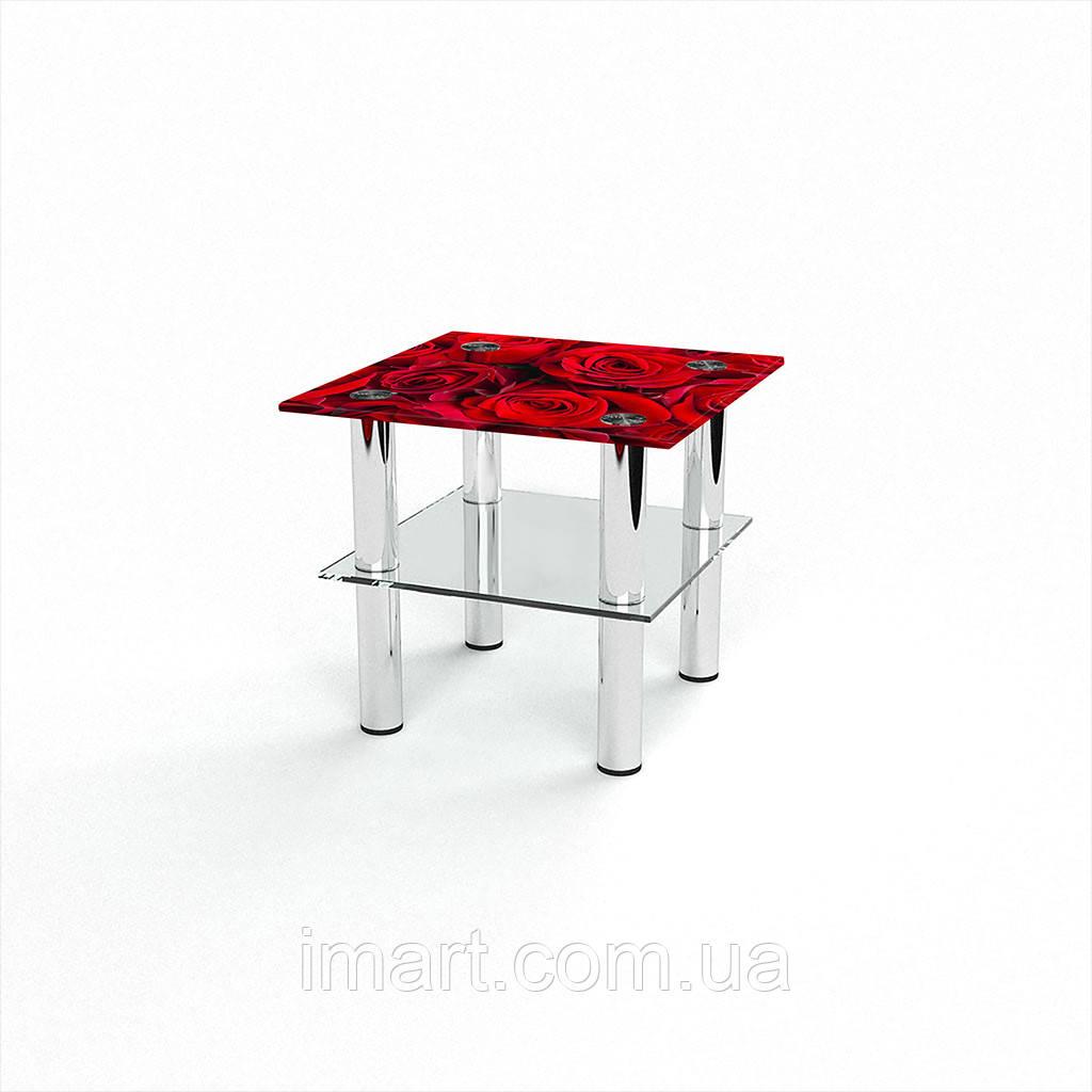 Журнальный стол квадратный с полкой Rose стеклянный