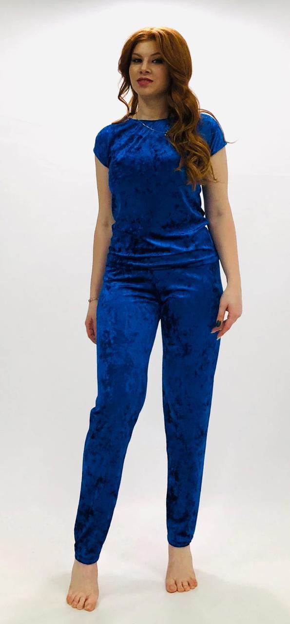 Велюровый женский костюм пижама футболка и штаны(44-54), Украина