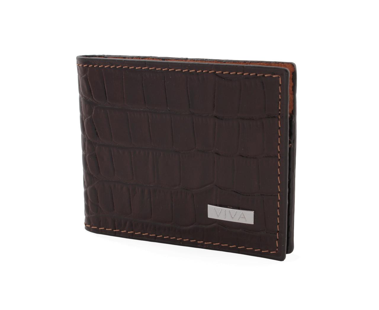 7d3387aa9799 Мужской кожаный кошелек VIVA, тонкий, темно-коричневый крокодил - Модная  одежда, обувь