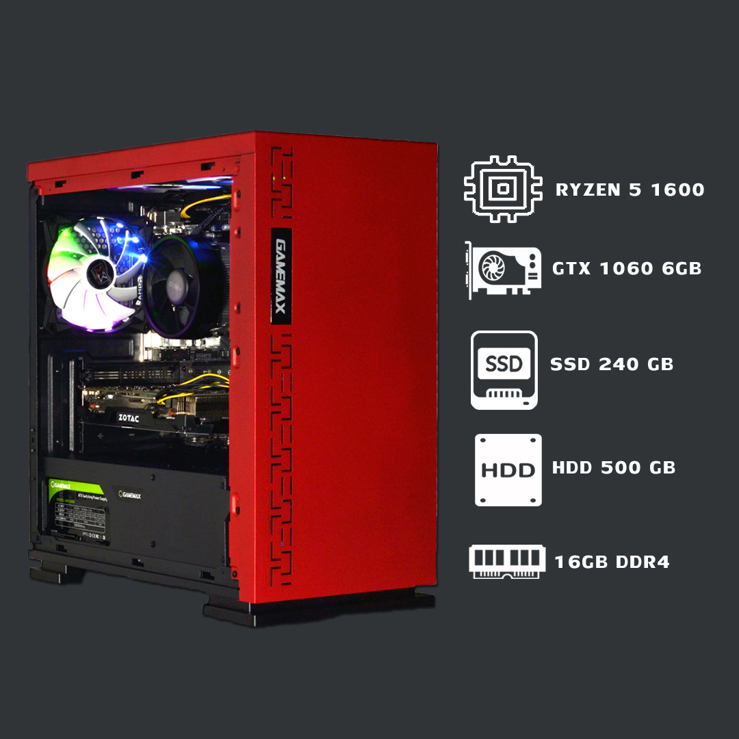 Мощный игровой компьютер Ryzen 5 1600+16GB+SSD 240GB+HDD 500GB+GTX 1060 6GB
