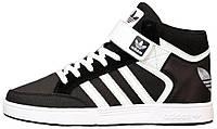 Мужские высокие кроссовки Adidas Varial Mid Black/White Адидас черные