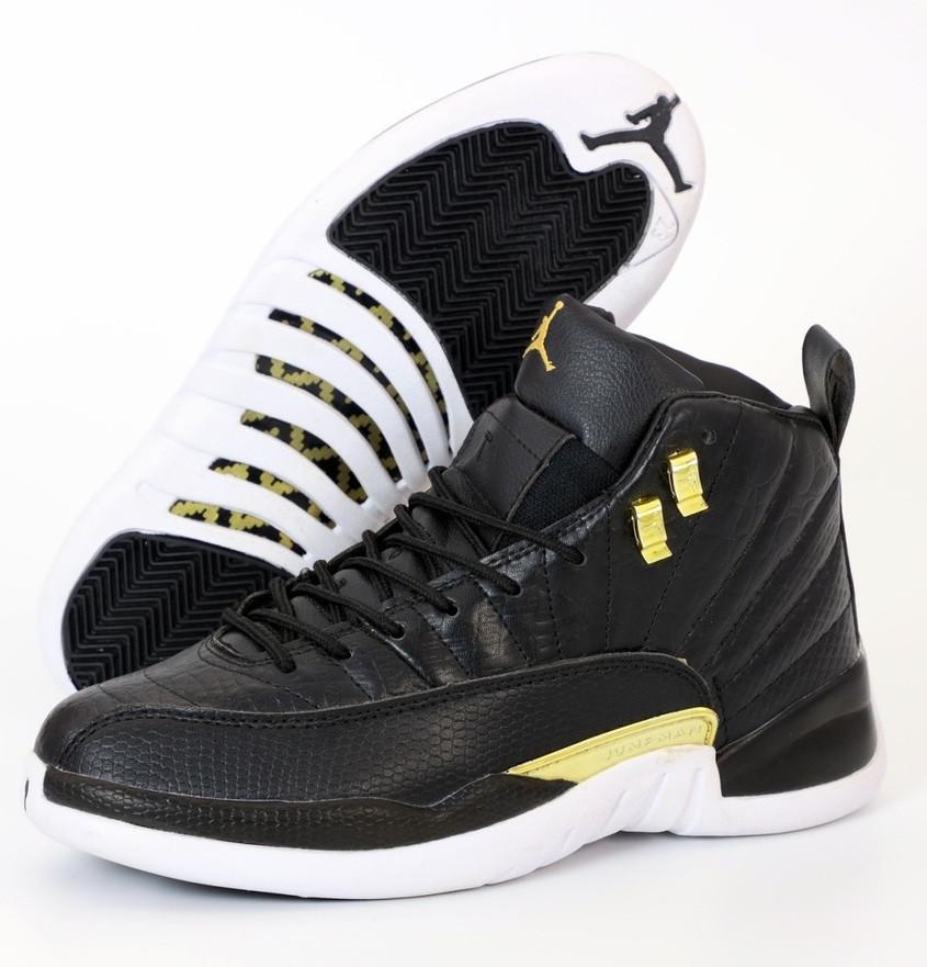 Чоловічі кросівки Nike Air Jordan Retro 12 black white yellow. Живе фото (Репліка ААА+)