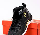 Чоловічі кросівки Nike Air Jordan Retro 12 black white yellow. Живе фото (Репліка ААА+), фото 6
