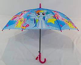 Зонт трость детский для девочек полуавтомат Rainproof рисунком «Май Литл Пони» на 5-8 лет (1114086047), фото 3
