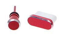 Комплект заглушек в разъем Type С и для наушников 3,5мм Mini Jack Red (красный)