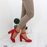 Женские красные туфли с ремешком, А 13050, фото 1