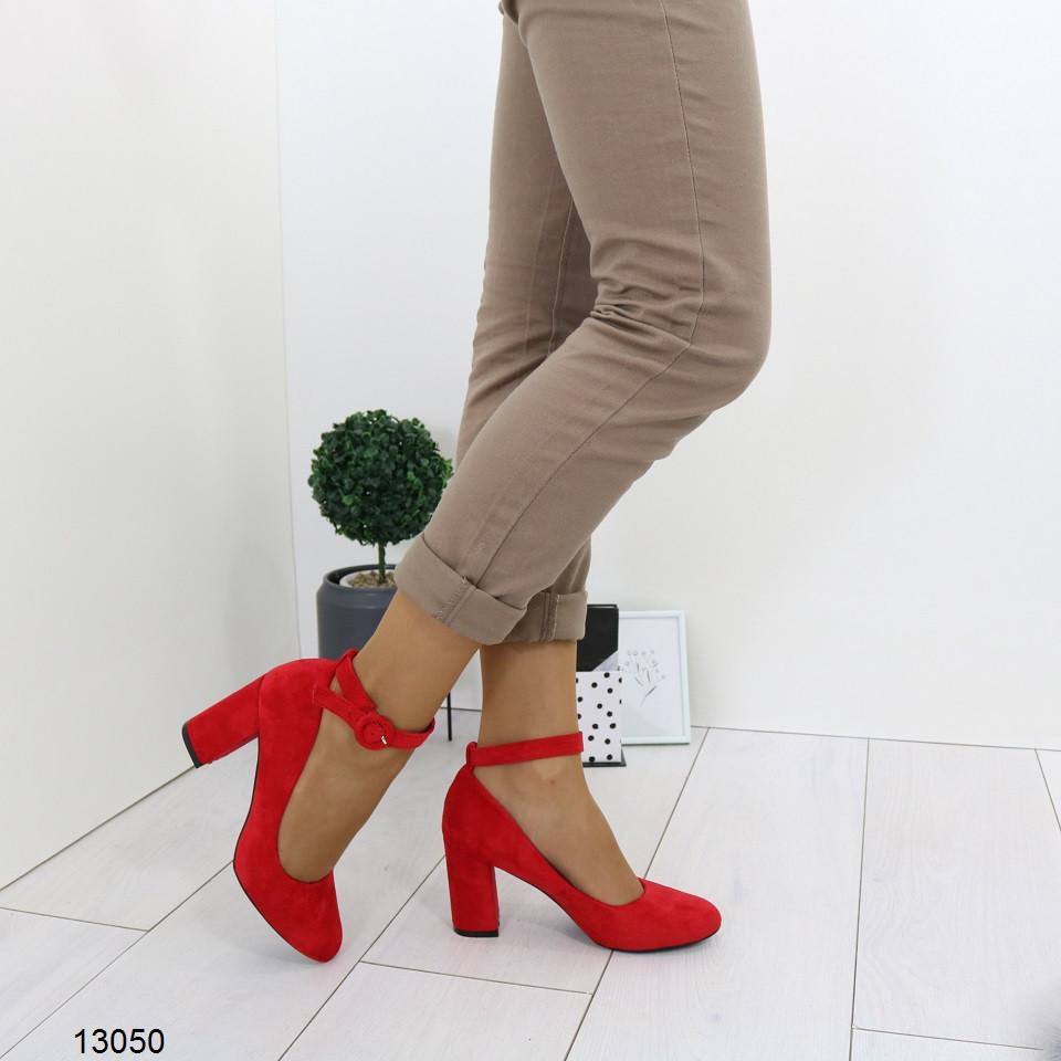 Женские красные туфли с ремешком, А 13050