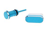 Комплект заглушек в разъем Type С и для наушников 3,5мм Mini Jack Blue (синий, голубой)