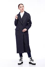 Шикарное шерстяное женское пальто цвет тёмно-синий размер 42-52