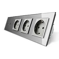 Сенсорный выключатель на две линии с тремя розетками Livolo серый стекло (VL-C702/C7C3EU-15), фото 1