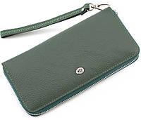 Женский зеленый кожаный кошелек на молнии с ремешком ST