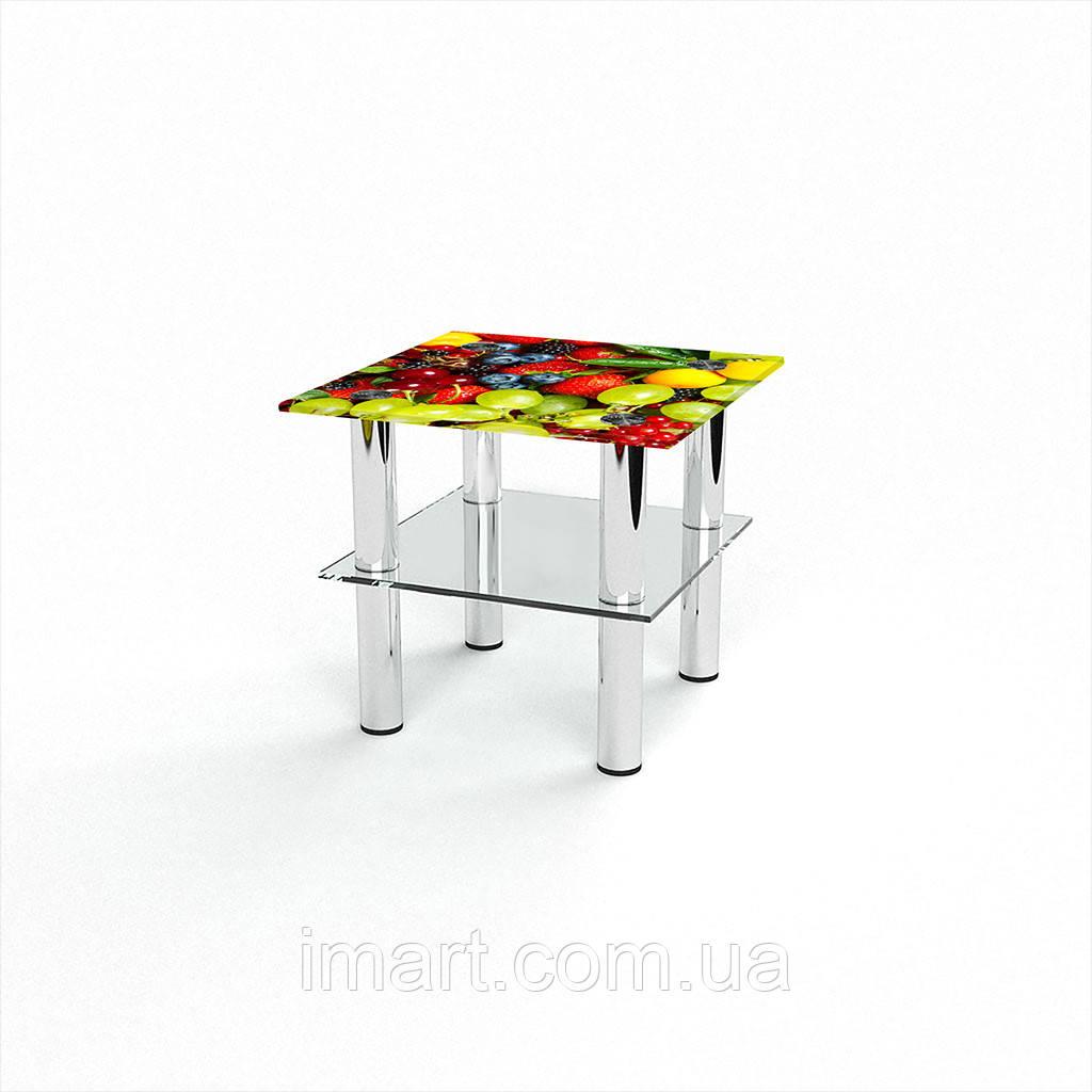 Журнальный стол квадратный с полкой Wood berry стеклянный