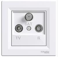Розетка TV-R-SAT 4 dB проходная белый Asfora, EPH3500221