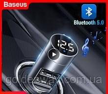 Автомобильный FM трансмиттер модулятор Baseus Energy Column Car Wireless + зарядка 2 USB 3.1A + вольтметр
