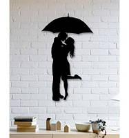 Декоративное металлическое панно романтическая пара в дождь., фото 1