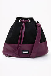Женская сумка, эко-замша и эко-кожа, чёрный/марсала