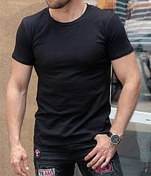 Мужская черная футболка классическая, короткий рукав