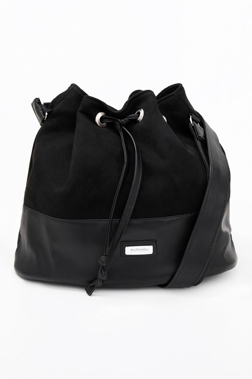 Женская сумка, эко-замша и эко-кожа, чёрная