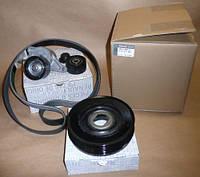 Комплект шкив+натяжитель+ролик+ремень на Рено Трафик 06-> 2.0dCi (с конд.) - Renault(Оригинал) 7701477344