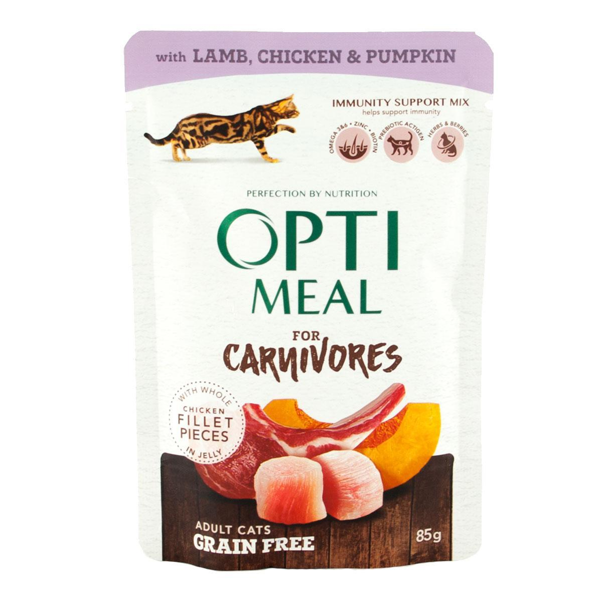 Влажный беззерновой корм для кошек Optimeal с ягнёнком, курицей и тыквой блок 85 г*12 шт.