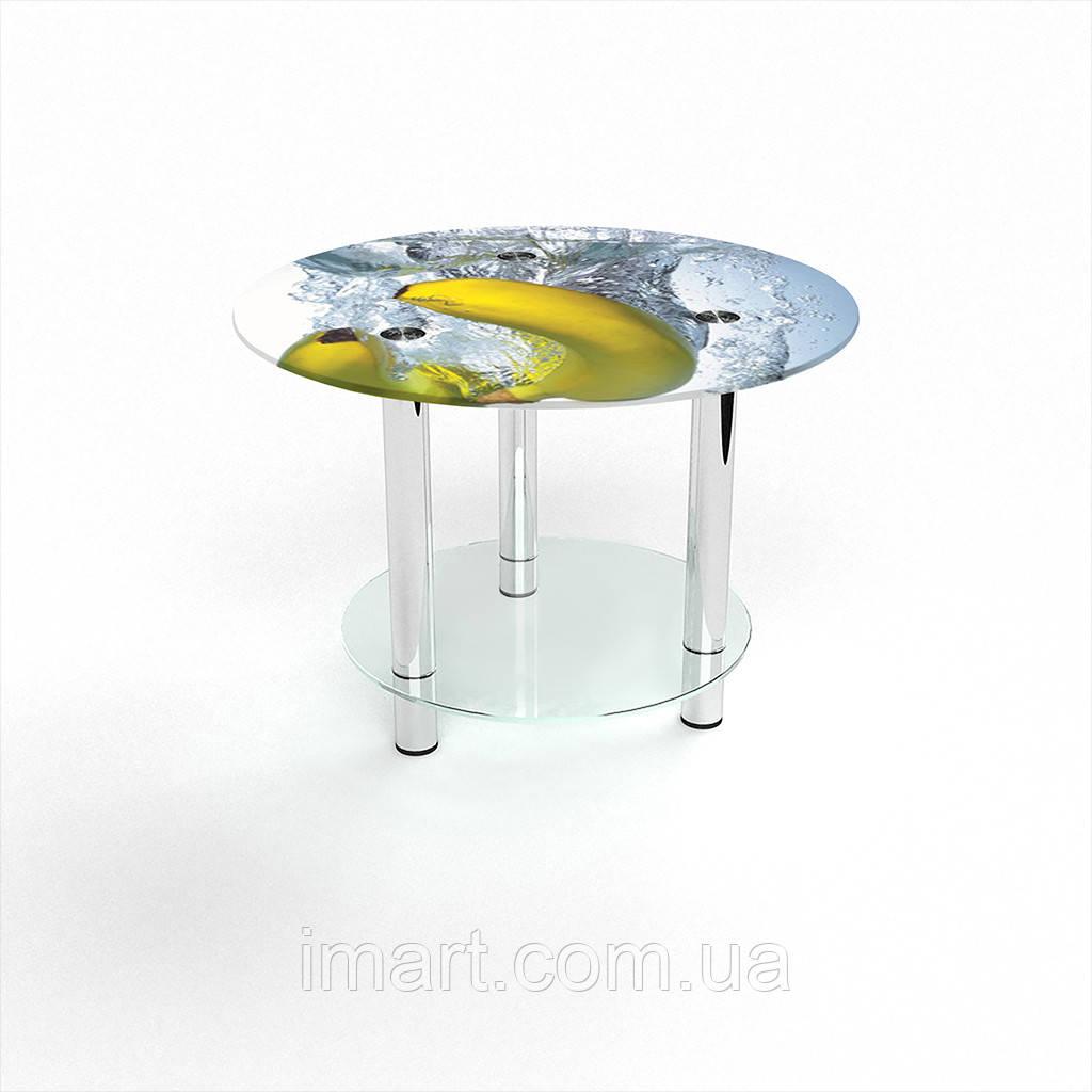 Журнальный стол круглый с полкой Banana стеклянный
