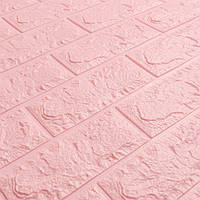 Декоративна 3Д-панель стінова Рожевий Цегла (самоклеючі 3d панелі для стін оригінал) 700x770x7 мм
