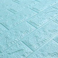 Декоративна 3Д-панель стінова Бірюзовий Цегла (самоклеючі 3d панелі для стін) 700x770x7 мм
