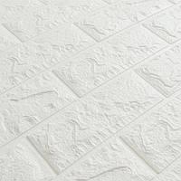 Декоративна 3Д-панель стінова Білий Цегла (самоклеючі 3d панелі для стін оригінал) 700x770x7 мм