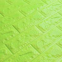 Декоративна 3Д-панель стінова Зелений Цегла (самоклеючі 3d панелі для стін оригінал) 700x770x7 мм