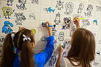 Самоклеящаяся детская 3D панель обои Раскраска (3д панель для стен под кирпич для рисования) 700x770x5 мм, фото 1