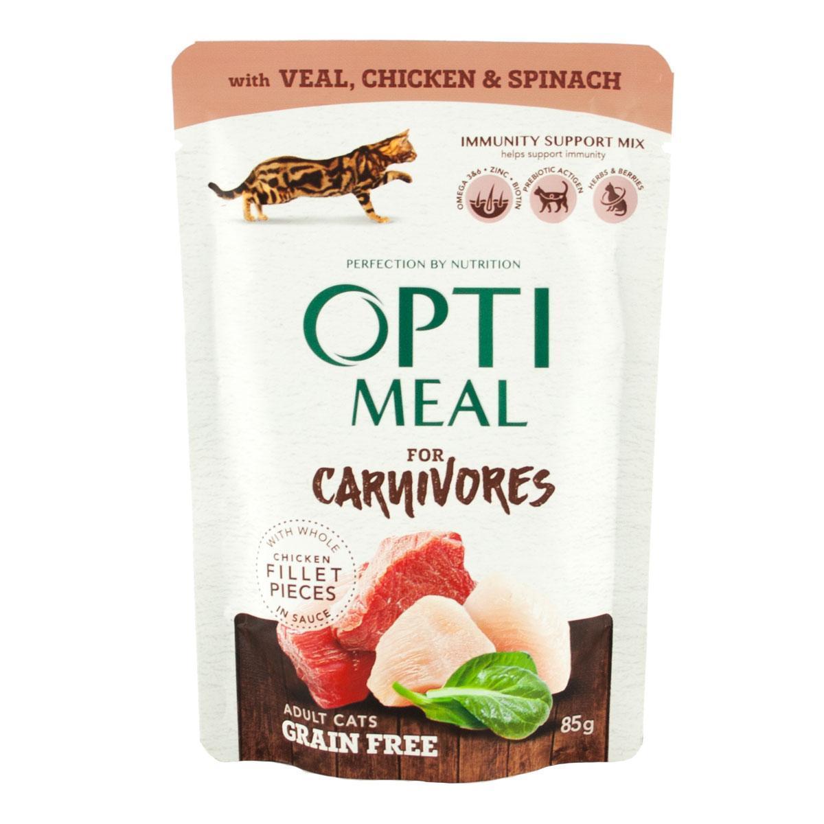 Влажный беззерновой корм для кошек Optimeal с телятиной, курицей и шпинатом блок 85 г*12 шт.