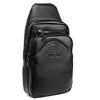Чоловіча шкіряна сумка слінг міні-рюкзак через плече BRETTON BE 7936-42 бананка чорна