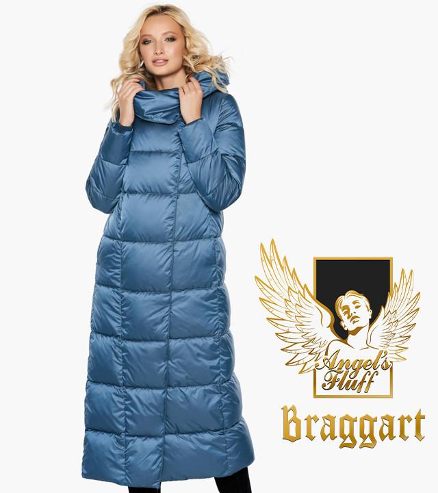Зимняя длинная куртка воздуховик с капюшоном и поясом Braggart Angel's Fluff