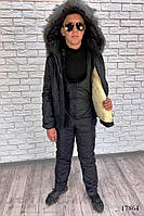 Зимний теплый черный костюм-комбинезон Юниор, фото 1
