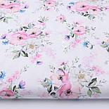 "Лоскут ткани ""Цвет яблони и васильки"" на белом фоне (2423), размер 48*80 см, фото 2"