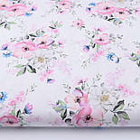 "Отрез ткани ""Цвет яблони и васильки"" на белом фоне (2423), размер 82*160, фото 2"