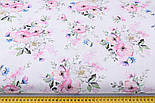 "Лоскут ткани ""Цвет яблони и васильки"" на белом фоне (2423), размер 48*80 см, фото 3"