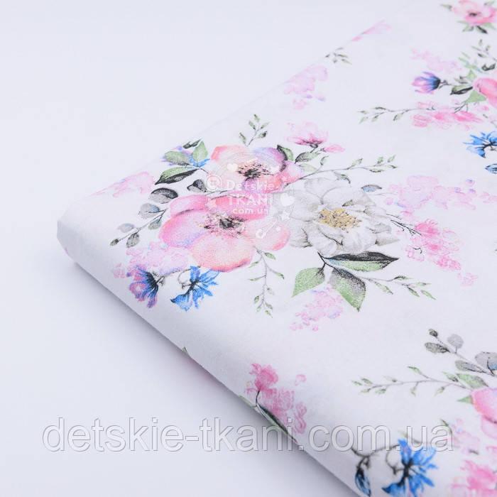 "Лоскут ткани ""Цвет яблони и васильки"" на белом фоне (2423), размер 48*80 см"