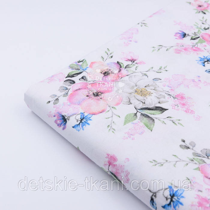 "Отрез ткани ""Цвет яблони и васильки"" на белом фоне (2423), размер 82*160"