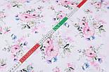 "Лоскут ткани ""Цвет яблони и васильки"" на белом фоне (2423), размер 48*80 см, фото 4"