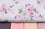 "Лоскут ткани ""Цвет яблони и васильки"" на белом фоне (2423), размер 48*80 см, фото 6"
