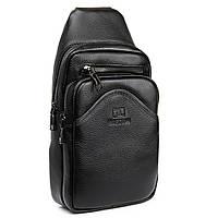 Мужская кожаная сумка мини-рюкзак через плечо Bretton BE 2002-3 бананка черная, фото 1