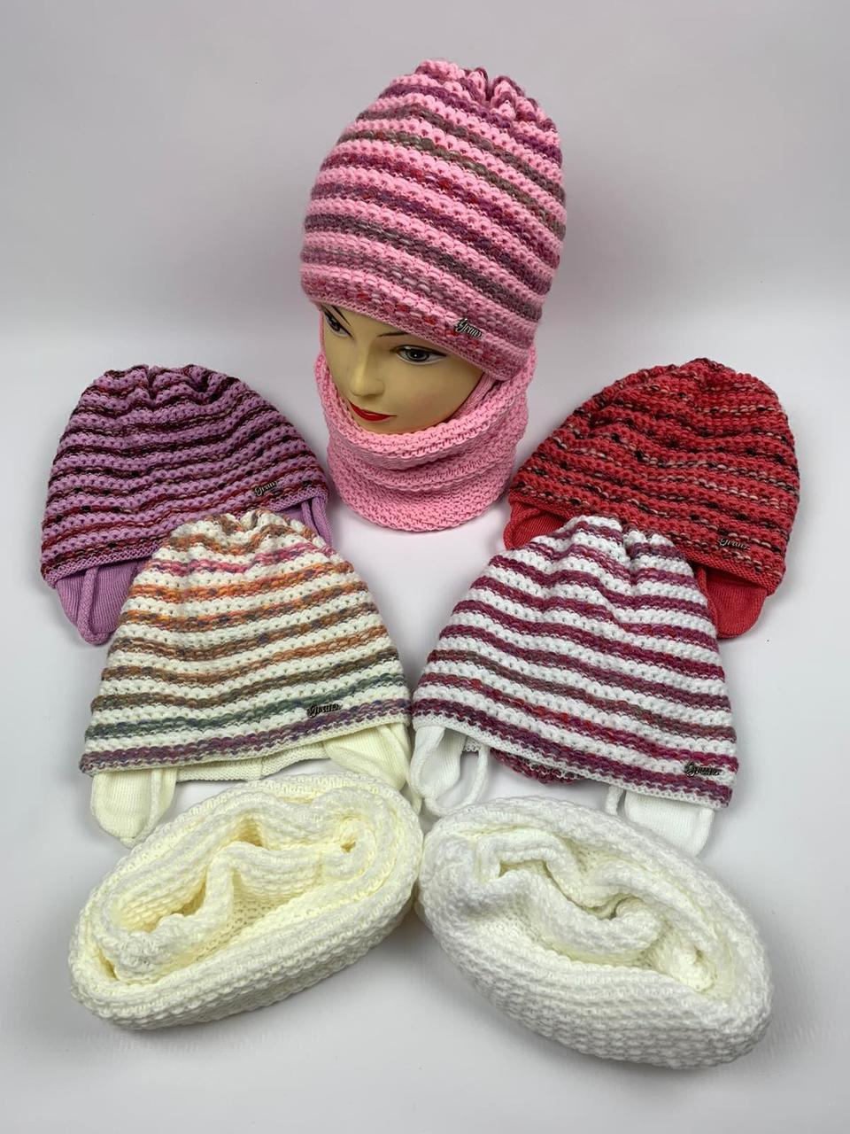Детские вязаные шапки для девочек оптом, р.50-52, Grans (Польша)