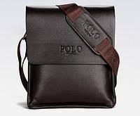 Качественная мужская сумка через плечо Polo Videng, поло. Темно-коричневая. 24x21x7