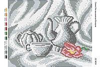 """Схема для полной зашивки бисером """"Чайный сервиз(ч/б)"""""""