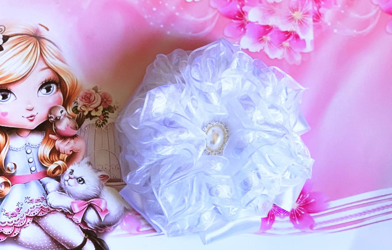 """Шпилька ручної роботи """"Квітка"""" білий 00351"""