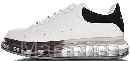 Женские кроссовки Alexander McQueen Oversized Air Crystal Sole White Black Александр Маккуин белые, фото 2