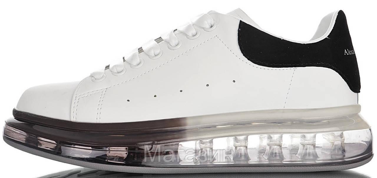 Женские кроссовки Alexander McQueen Oversized Air Crystal Sole White Black Александр Маккуин белые